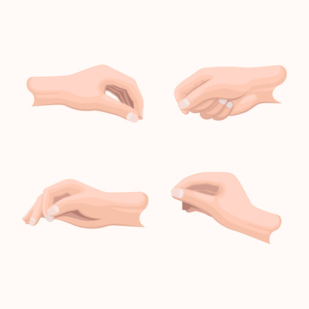 Realistic hand set with fingers positions on white. Vector poster in flat design of closed palms, clenched and straight fingers. Hands that indicate or going to take something in cartoon style