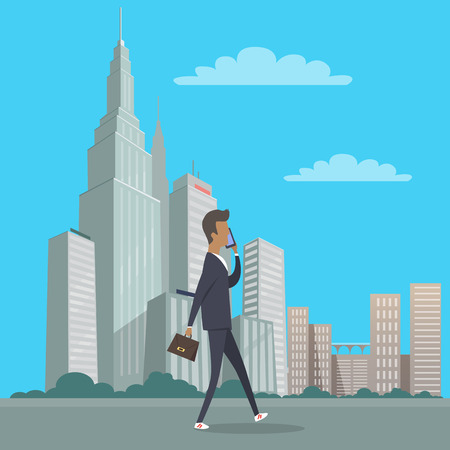 Businessman with bag in hand walking in city centre and talks over the phone. Vector illustration of man in suit spending time outdoors with many skyscrapers and other urban buildings on background Иллюстрация