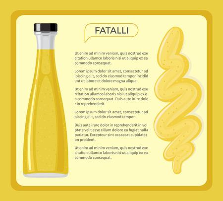 Fatalli 소스 샘플 텍스트 배너를 액자. 유리 병 플랫 벡터에서 핫 칠리 페 퍼에서 전통적인 조미료. 구속 메뉴 디자인을위한 아프리카 국가 요리 성분 일