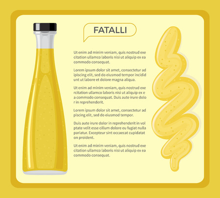 Fatalli sauce framed banner with sample text. Traditional seasoning from hot chili pepper in glass bottle flat vector. African national cuisine ingredient illustration for restraint menus design