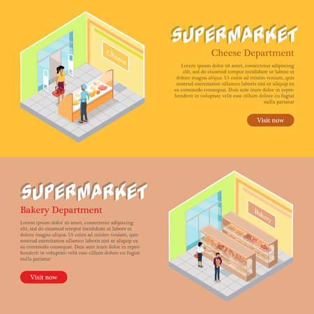 Supermarket cheese and bakery department isometric projection banners. Customers buying goods in grocery store vector illustrations. Daily products shopping horizontal concepts for mall landing page Illustration