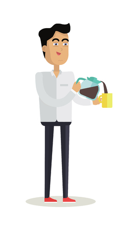 Business Man with Coffee Maker and Cup Illustration