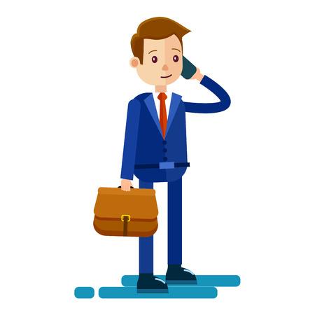 Cartoon Businessman Talks by Phone Illustration Stock Vector - 85353817