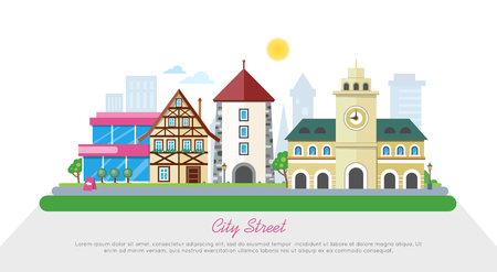 City Street In Sunny Day Flat Vector Banner 向量圖像