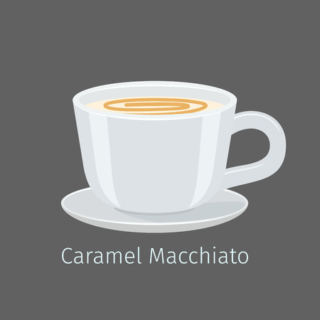 Porcelain Cup with Caramel Macchiato Flat Vector