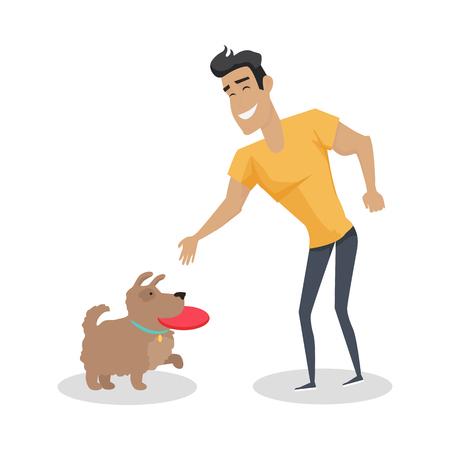 Spelen met huisdier illustratie in platte ontwerp.