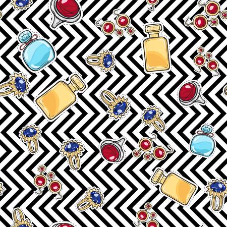 A Jewelry for Women. Elite Perfume. Seamless Pattern