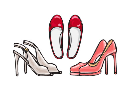 heelpiece: Three Pairs of Heel Shoes. Fashionable Footwear