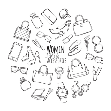 Women Items and Accessories. Collection of Things Çizim