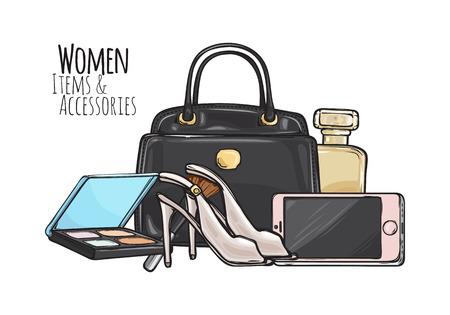 Women Items and Accessories. Dark Female Objects Ilustração