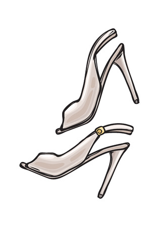 Women s Shoes with Open Toe in Cartoon Art Style Illustration