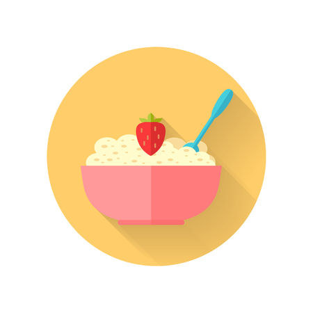 Oatmeal Dish Vector Illustration in Flat Design