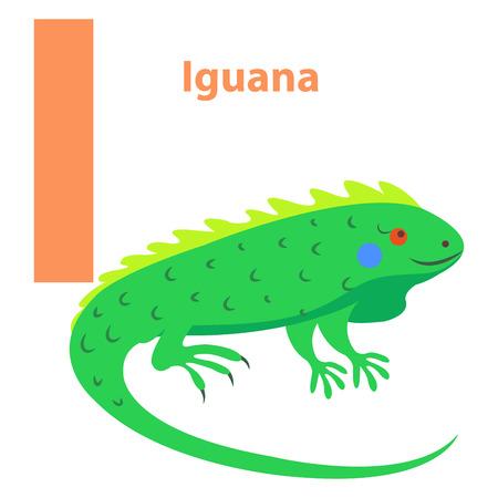 어린이위한 알파벳 나 편지이 구 아나 만화 아이콘을 흰색으로 격리합니다. 의욕적 인 다시 및 빨간 눈을 가진 밝은 녹색 파충류. 재미 만화 동물과 쾌