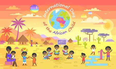 Día internacional de la ilustración de vector de niño africano. Pequeños niños negros jugando, leyendo libros, compartiendo fruta en elefantes y palmeras de fondo.