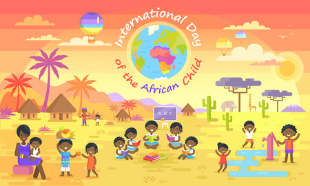 International day of African child vector illustration. Small black kids playing, reading books, sharing fruit on elephants and palm trees background.