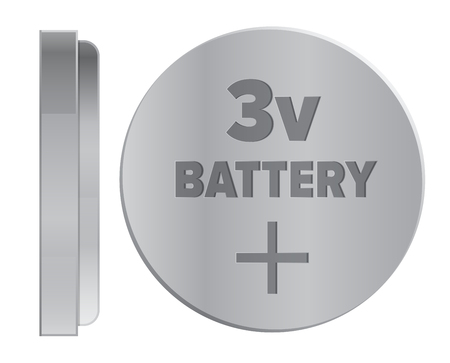 Round Silver 3v Battery Isolated Illustration Иллюстрация