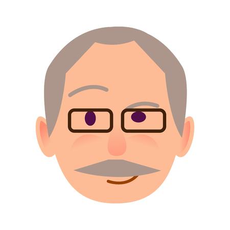 Elderly Human in Glasses with Distrustful Look
