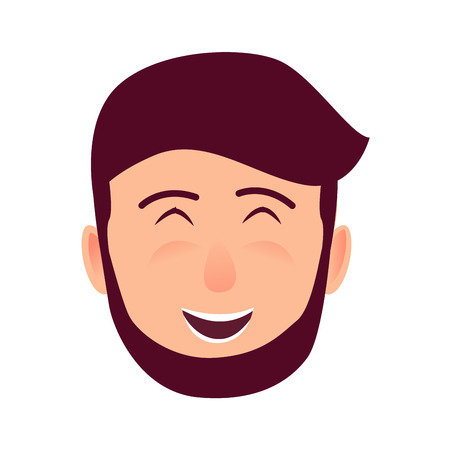 Laughing Young Man Face Flat Vector Icon
