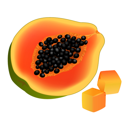 Sliced on half and diced papaya. Ripe tropical fruit realistic vector isolated on white background. Fresh ingredient of vegetarian salad illustration for healthy food and natural nutrition concepts
