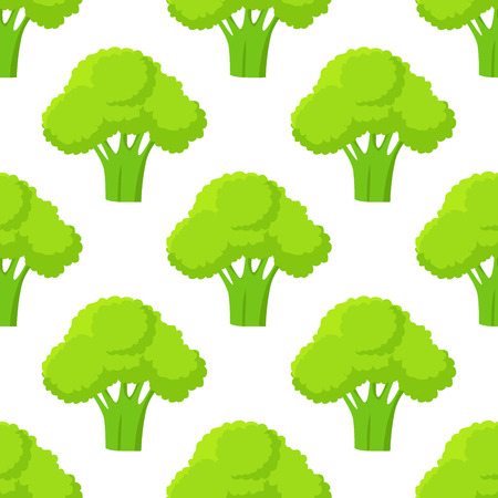 Broccoli green head or flower bud seamless pattern. Vegetables vector illustration of fresh organic plant, healthy cabbage in flat cartoon style endless texture. Nutritious dieting ingredient