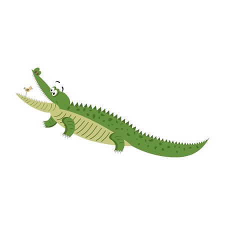 Cartoon Crocodile with Bird in Wide Open Mouth Ilustração