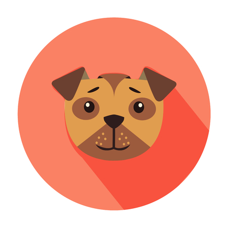 Cute Dog Muzzle Cartoon Flat Vector Icon