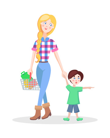 Family shopping cartoon concept isolated on white background. Beautiful hipster woman make purchases with child flat vector illustration. Young mother buying goods in supermarket with little son