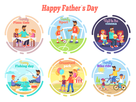 Family pizza time, sport activities, visit to cinema, funny fishing day, amusement park and bike ride vector illustrations set.