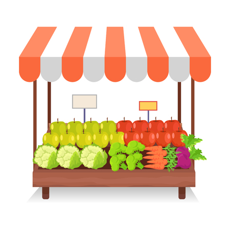 Trade tent with green and red apples, cauliflower, fresh broccoli, crispy carrots and sweet beet isolated on white background. Striped trade tent with healthy vegetables and fruit vector illustration.