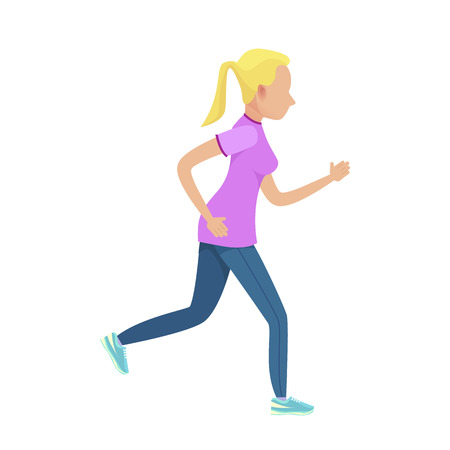 Young blonde girl running vector illustration. Shapely female dressed in purple t-shirt, blue leggings and navy sneakers. Illustration