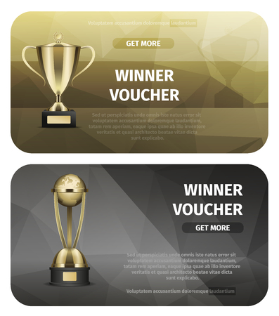 Winner voucher with gold trophy in flat illustration.