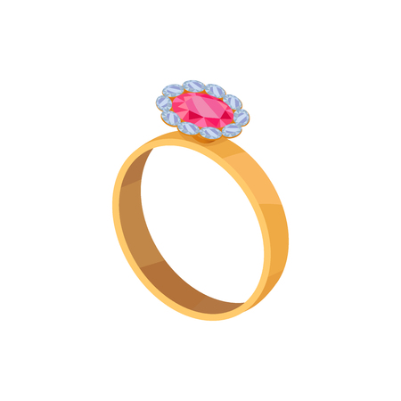 Gold Ring with Pink Stone Isolated Illustration