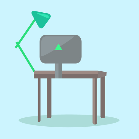 Dark computer desk with black monitor and green reading-lamp vector illustration. Verdant triangular sign on back of display Illustration