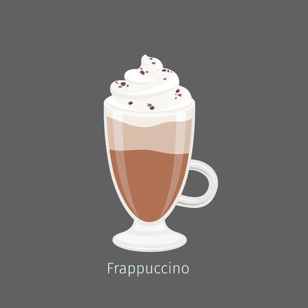 Frapuccino en Vector plano de la taza de cristal irlandesa Foto de archivo - 85355468
