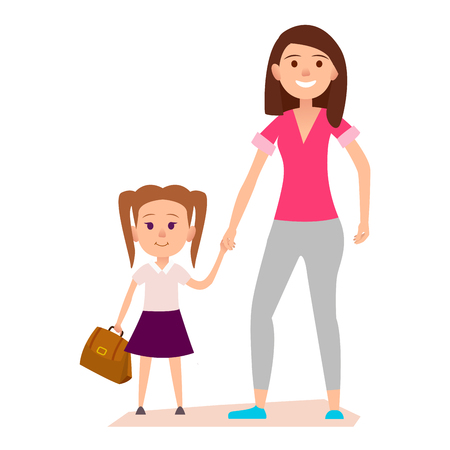Little Girl with Brown Schoolbag Keeps Moms Hand Иллюстрация