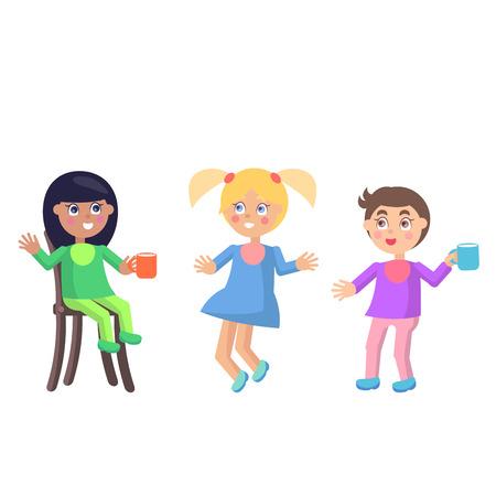 Spielerische kleine Kinder in den Babylätzchen flachen Vektor Standard-Bild - 85354744