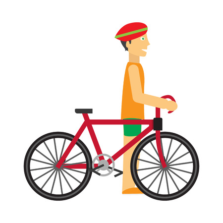 Biker with Bicycle Vector in Flat Design