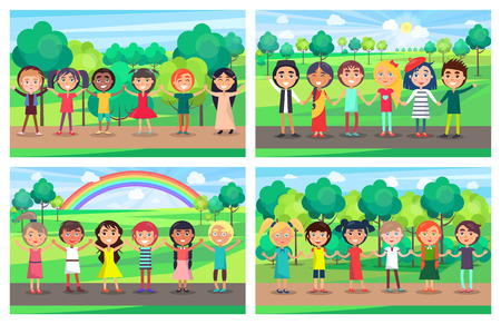 Children of different nationalities hold hands together and stand in line with trees, sun and rainbow on background. Kids unity vector illustration. Illustration