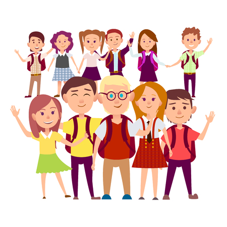 Joint snapshot of classmates 11 pupils on white background. Cheerful schoolchildren holding hands, swings their arms vector illustration. Illustration