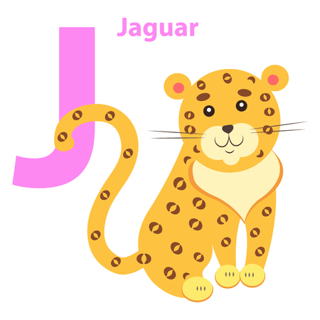 English Nursery card with Lilac Character J for Jaguar