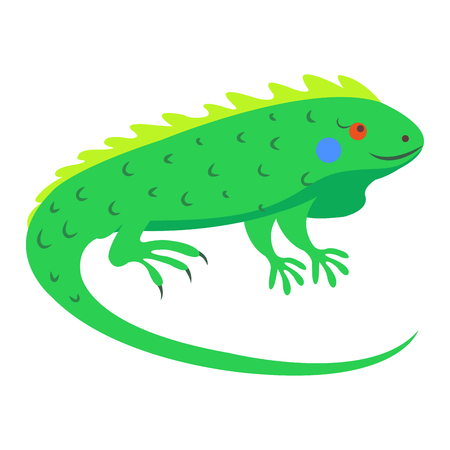 Cute Iguana Cartoon Flat Vector Sticker or Icon Ilustracja