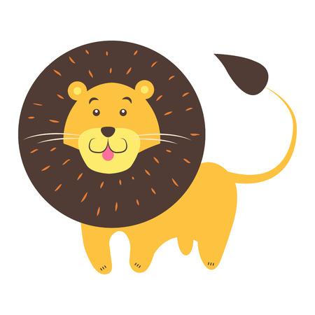 귀여운 사자 만화 플랫 벡터 스티커 또는 아이콘