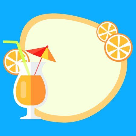 Summer Vacation Vector Concept with Fresh Juice