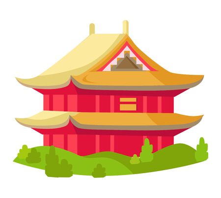 Chinese Red Building with Yellow Roof Isolated