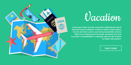 Vacation Conceptual Flat Style Vector Web Banner Illustration
