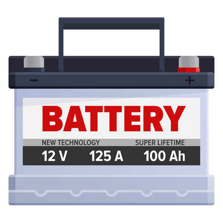 Leistungsstarke tragbare Batterie isoliert Illustration Standard-Bild - 86476457