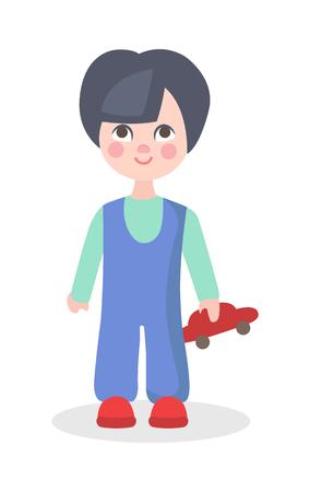Little Boy jugando con el icono de Vector plano de juguete de coche Foto de archivo - 86476460