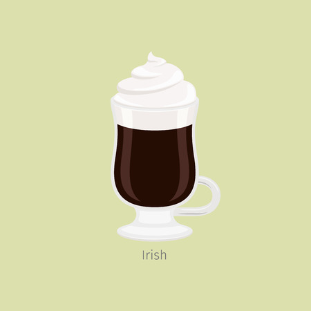 Glass Mug with Irish Coffee Flat Vector