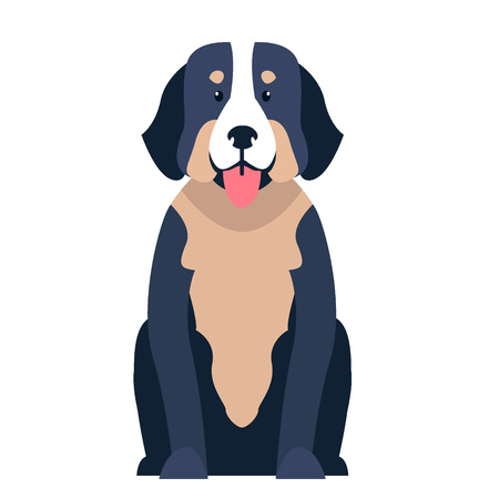 Cute St. Bernard dog cartoon flat vector icon