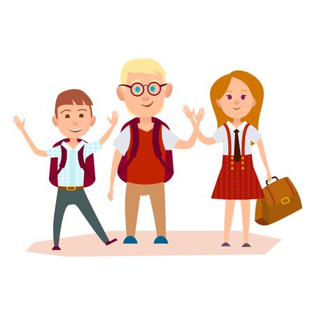 Happy Schoolchildren with Bags Waving their Hands Иллюстрация